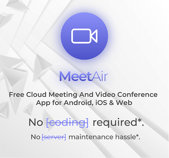 MeetAir - iOS and Android Video Conference App for Live Class, Meeting, Webinar, Online Training - 2